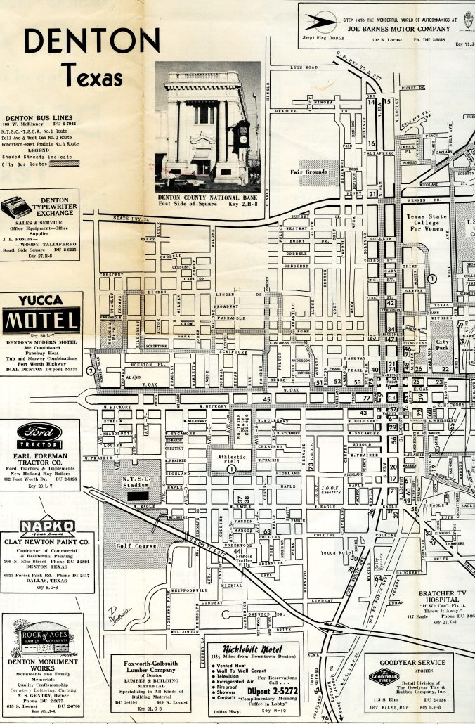 1958 map of Denton, Texas.