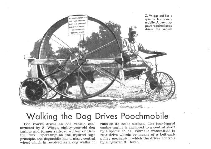 Z. Wiggs and his Poochmobile in Denton, Texas, 1939. -Popular Mechanics, Nov. 1939, p.142